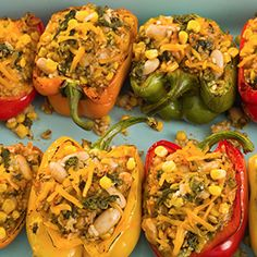 Stuffed Grilled Peppers & Rice