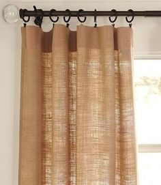 Burlap Curtain Panel 53 x 84 by MadeInBurlap on Etsy, $36.00.shawna says: sew my own for about $10 plus stencil a design on them