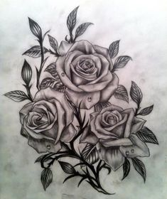 realistic black and grey roses would make a great tattoo