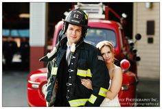 Portraits at Port Moody Fire Hall and Fire Truck - romatic close up portrait of couple with fire truck and fire department behind them with groom wearing fire fighter gear