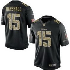 Chicago Bears #15 Brandon Marshall Limited Black Salute To Service Men's NFL Stitched Jersey