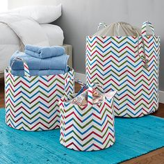 Dorm Decor: Chevron Canvas Storage Baskets