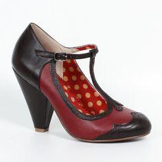 Bettie Page Retro Black and Red T-Bar Heels – Pretty Kitty Fashion
