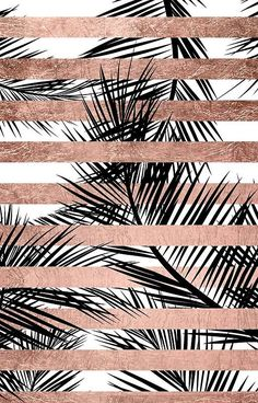 Trendy tropical palm trees chic rose gold stripes
