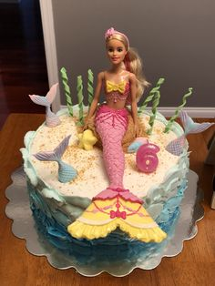 Barbie Doll Mermaid Cake The Effective Pictures We Offer You About Birthday Cake decorating A quality picture can tell you many things. You can find the most beautiful pic Barbie Birthday Cake, Mermaid Birthday Cakes, Mermaid Cakes, Birthday Cake Girls, 7th Birthday, Funny Birthday, Birthday Ideas, Birthday Parties, Barbie Torte