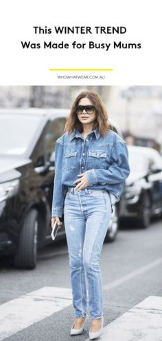 The chicest street style at Paris Fashion Week featuring models off-duty and more of the best dressed showgoers for Spring New Outfits, Winter Outfits, Denim Outfits, Denim Fashion, Paris Fashion, Double Denim, Models Off Duty, Winter Trends, Nice Dresses