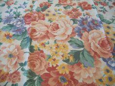 Joan Kessler 1 Yd Concord Fabrics Material Rose Sage Peach Goldenrod Blue Flower