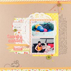 Lawn Fawn Pink Lemonade paper and element stickers; Happy Easter stamp set _ layout by Melissa S.