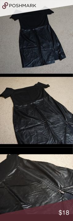 "💎4 for $25💎 Black leather fitted dress size M\L Black 50s inspired dress. Bottom half ""leather"" top half is a spandex type material and off the shoulder. Size L but definitely runs small. Length from hallow to hem is 30"" waist is about 31"" around. NO SWAPS.  Feel free to submit an offer, I except most reasonable offers. No lowballing, they will be ignored my prices are very fair  💎4 for $25💎 Bundle 4 times and submit offer for $25! JustFab Dresses Mini"