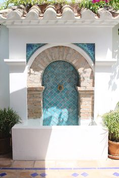 Browse our exquisite collection of ceramic tiles handmade in Marbella, Spain. Luxurious decorative tiles for outdoor, kitchen & bathroom use. Outdoor Wall Fountains, Outdoor Tiles, Garden Fountains, Outdoor Decor, Modern Moroccan Decor, Moroccan Garden, Pool Waterfall, Water Features In The Garden, Spanish House