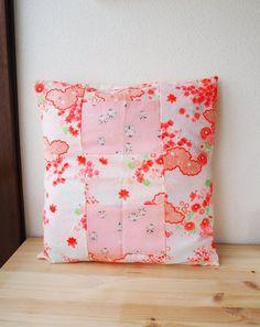 Vintage Up-Cycled Japanese Kimono Nagajuban 16x16 Handmade Pillow Cover 10