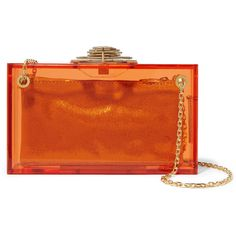 Charlotte Olympia Decorative Dora Perspex box clutch (€580) ❤ liked on Polyvore featuring bags, handbags, clutches, orange, chain handle handbags, lucite handbags, acrylic clutches, lucite purse and embellished purses