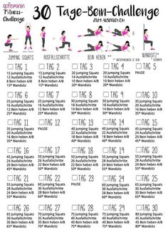 30-Tage-Bein-Challegne (Fitness Journal Motivation)