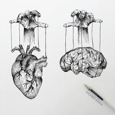 Black and White Surreal Drawings Heart and Brain Manipulation. Diverse Black and White Surreal Drawings. By Alfred Basha.Heart and Brain Manipulation. Diverse Black and White Surreal Drawings. By Alfred Basha. Art Drawings Sketches, Ink Pen Drawings, Tattoo Drawings, Heart Drawings, Badass Drawings, Simple Drawings, Sketch Tattoo, Realistic Drawings, Kawaii Drawings