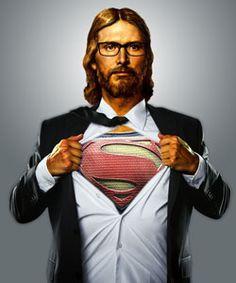 Jesus represented as a hero