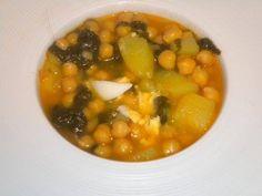 Potaje de garbanzos con bacalao y verdura. Restaurante Portoles. #jornadasPOPCastellón