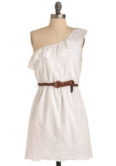 Country Singer Showcase Dress - Casual, White, Solid, Eyelet, Tiered, A-line, One Shoulder, Ruffles, Boho, Spring, Short