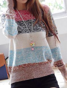 Striped multi-color sweater.