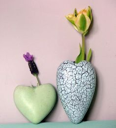 heart shape wall vases from the fifties