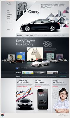Discover more of the best Web, Design, Toyota, and Website inspiration on Designspiration Creative Web Design, Web Ui Design, Page Design, Book Design, Website Layout, Web Layout, Layout Design, Website Web, Web Responsive