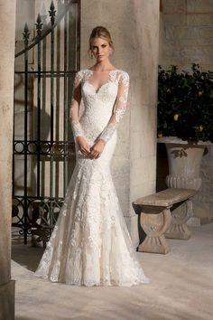 2015 Bateau Full Sleeves Wedding Dress Mermaid/Trumpet Court Trian With Applique USD 289.99 EPP16NB63B - ElleProm.com