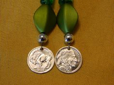 Indian Head/Buffalo Earrings with olive green beads by gr8byz, $20.00