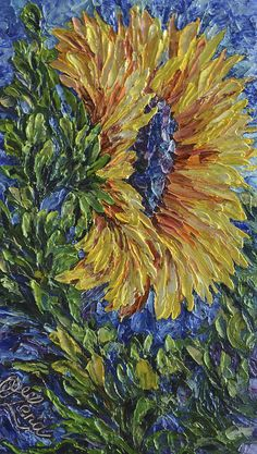 Modern Painting - Blooming Sunflower by OLena Art Brand