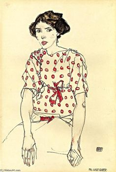 Egon Schiele >> Portrait of Miss Waerndorfer     (Drawing, artwork, reproduction, copy, painting).