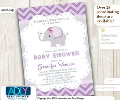 ADLY Invitations and Digital Party Designs - Purple Elephant Baby Shower Printable DIY party invitation for girl, chevron, lilac, gray. Instant Download, $15.00 (http://www.adlybabyshower.com/purple-elephant-baby-shower-printable-diy-party-invitation-for-girl-chevron-lilac-gray-instant-download/)