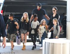 Angelina Jolie leaves LAX with her children