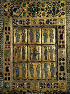 BYZANTINE CHAMPLEVE 10TH-12TH   Cover of the Staurothek. Reliquary for the wood of the True Cross, Limburg. Enameled and jewelled (ca. 948-959)   Cathedral Treasury, Limburg an der Lahn, Germany