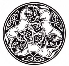 Drawing of entwined horses and Celtic knotwork. two of my favorite things.