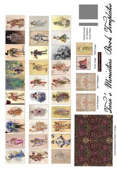 Free Miniature Book Printie of Costume Designs by Victorian Costume Designer C. Makes up into a book for doll libraries. Vitrine Miniature, Miniature Dolls, Miniature Houses, Mini Books, Victorian Dollhouse, Wooden Dollhouse, Diy Dollhouse, Shabby Vintage, Vintage Paper