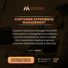 Customer Experience Management involves getting a single view of customers by breaking down the silos & getting deep customer insights to help businesses create more personalized customer interactions as defined by @Gartner.  #b2b #b2bmarketing #valasys #CustomerExpereince #personalization #Branding101 #customerloyalty #BrandAdvocacy