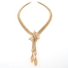 French Retro Diamond and 18 kt. Gold Lariat/Necklace.  Available exclusively at Macklowe Gallery.