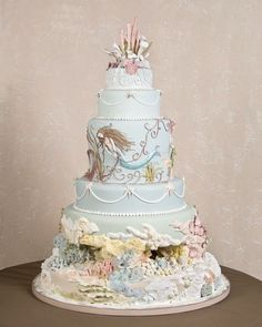 Under the sea mermaid with coral reef couture cake