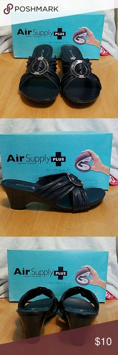 "Women's Shoes/Slides/Sandals AIR SUPPLY  ""Delight"" slides/sandals NWT and original box Size:  8.5M but fits more like an 8  Color:  Navy 2-inch heel. Be ready for Spring with these light & comfortable slides! Shoes Sandals"