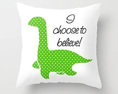 Loch Ness Monster Throw Pillow 16x16 Graphic Print Cover Green Nessie Lochness Scottish Highlands Lake Water Dino Dinosaur Believe Polka Dot
