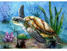 Art illustration - oceans & seas - sea turtle: (chelonioidea) they have Sea Turtle Painting, Sea Turtle Art, Turtle Love, Sea Turtles, Baby Turtles, Underwater Painting, Underwater Sea, Art And Illustration, Watercolor Sea