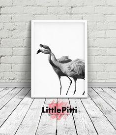Flamingo printable, tropical print, black and white photography, nursery wall art, digital print, tropical birds print, tropical animals