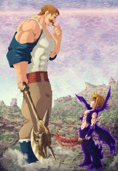 Escanor & Meliodas (The Seven Deadly Sins) Seven Deadly Sins Anime, 7 Deadly Sins, Meliodas Vs, Super Anime, Seven Deady Sins, 7 Sins, Anime Artwork, Kawaii Anime, Merlin