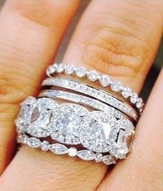 Diamond Wedding Rings The trendiest wedding ring trend, the latest ring trends for brides, bridal jewelry ideas and trends, the stacked wedding ring trend for the stylish bride. Ring Set, Ring Verlobung, Hand Ring, Bling Bling, Do It Yourself Fashion, Anniversary Bands, Wedding Rings For Women, Diamond Wedding Bands, Stacked Wedding Bands