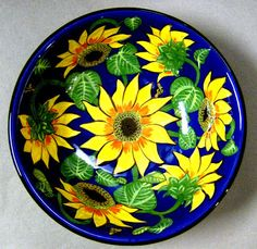 Sunflower bowl, an old pattern painted by artist Geoff Graham at Cinnabar Ceramics, Vallejo, CA (Formerly Ukiah, CA)