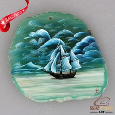 NEW! HAND PAINTED SAIL BOAT AGATE SLICE GEMSTONE NECKLACE PENDANT ZP80 00041 #ZL #PENDANT