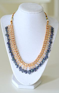 Sapphire and Glass necklace Hyderabadi Necklace by HouseofMor