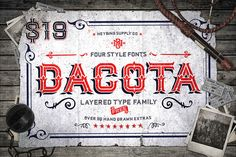 Dacota Typeface + Bonus Extras by Heybing Supply Co. on Creative Market