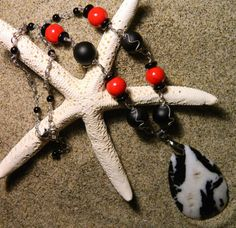Black and white stone, with black and red beaded chain by BeachinJewelry, $22.00