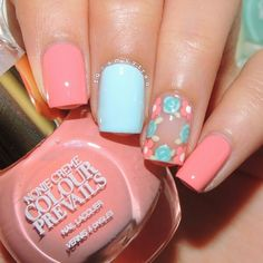 Pastel floral, pastel nail art, floral nail art, pastel pink, spring nail c Spring Nail Colors, Nail Designs Spring, Spring Nails, Nail Art Designs, Pink Nail Art, Blue Nails, Color Nails, Art D'ongles Pastel, Pastel Pink
