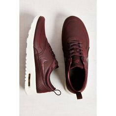 Nike Air Max Thea Premium Sneaker ($115) ❤ liked on Polyvore featuring shoes, sneakers, grip trainer, nike footwear, genuine leather shoes, low shoes and real leather shoes