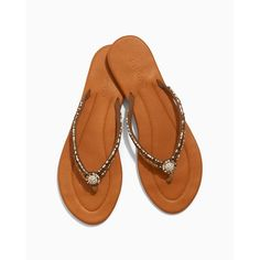 Soma Skemo Lorena Thong Sandals ($99) ❤ liked on Polyvore featuring shoes, sandals, camel, beaded leather sandals, camel sandals, toe thongs, camel shoes and thong sandals